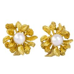 Champagnat for Dior Gold and Pearl Flower Clip on Earrings