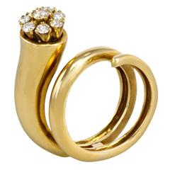 Christian Dior Gold and Diamond Flower Bud Ring