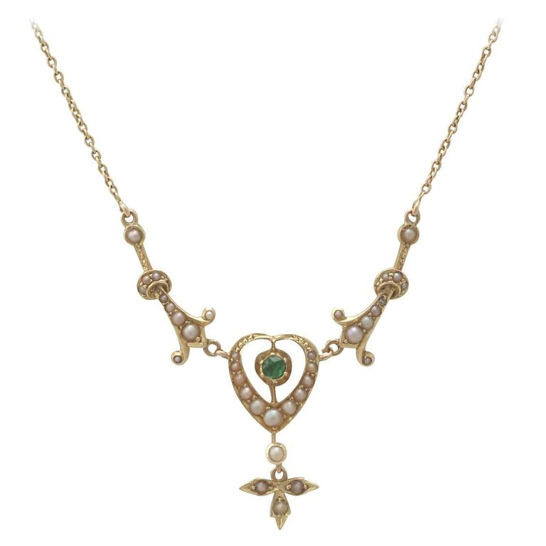 1890s 0.12 Carat Peridot and Seed Pearl, 15k Yellow Gold Necklace