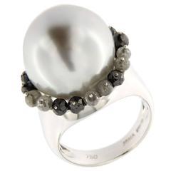 Jona Baroque Pearl Diamond White Gold Ring
