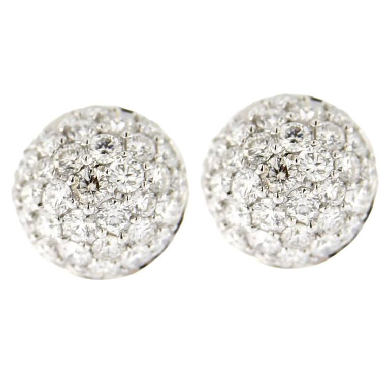 Jona White Diamond Pavé 18k White Gold Semisphere Stud Earrings