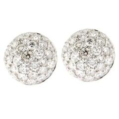 Jona White Diamond Pavé 18 Karat White Gold Semi Sphere Stud Earrings