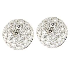 Jona White Diamond Pavé 18 Karat White Gold Semi Sphere Stud Earrings