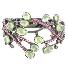 Modernist Prehnite Tsavorite Pink and Orange Sapphire Cuff Bracelet