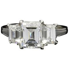 Hancocks Elegant 3.63 Carat Three Stone Step-Cut Diamond Platinum Ring
