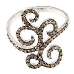 Jona Ghirigori Brown Diamond 18 Karat White Gold Ring