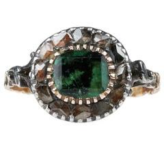 Georgian Emerald Diamond Gold Ring