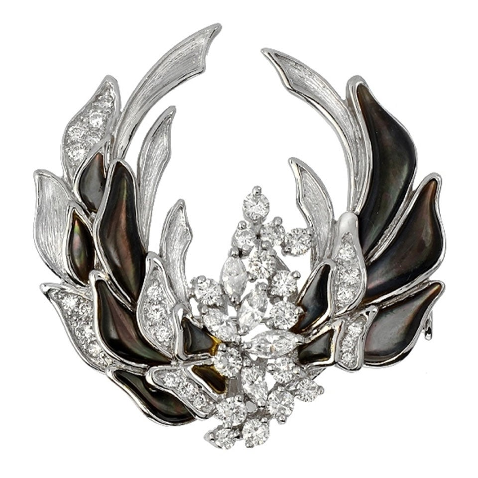 Mother of Pearl Diamond Platinum Cluster Brooch and Pendant