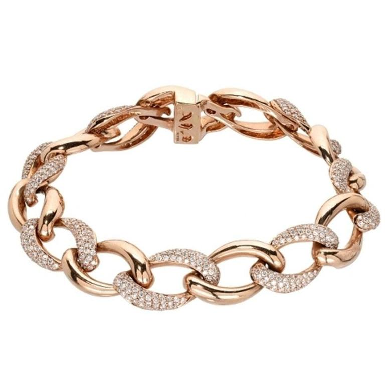 Diamond Pave Gold Chain Link Bracelet For