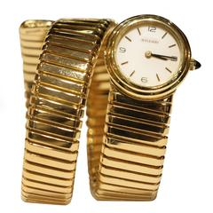 Bulgari Ladies Yellow Gold Tubogas Ebel Automatic Bracelet Wristwatch Ref 2527