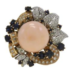 Pink Coral Heart Sapphire Diamond Gold Cluster Ring