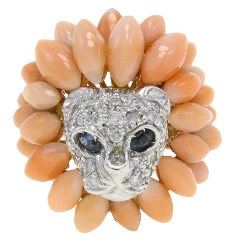 Diamond Two Color Gold Lion Cluster Ring