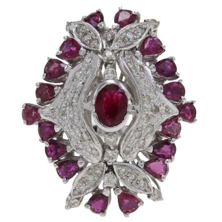 Ruby Diamond Gold Dome Ring For Sale