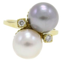 White and Gray Australian Pearl Diamond Gold Ring