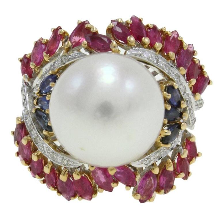 Australian Pearl Sapphire Ruby Diamond Gold Dome Ring For Sale