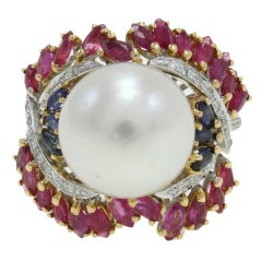 Australian Pearl Sapphire Ruby Diamond Gold Dome Ring