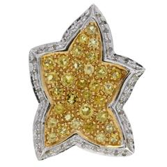 Luise Leaf Topaz Diamond Gold Ring