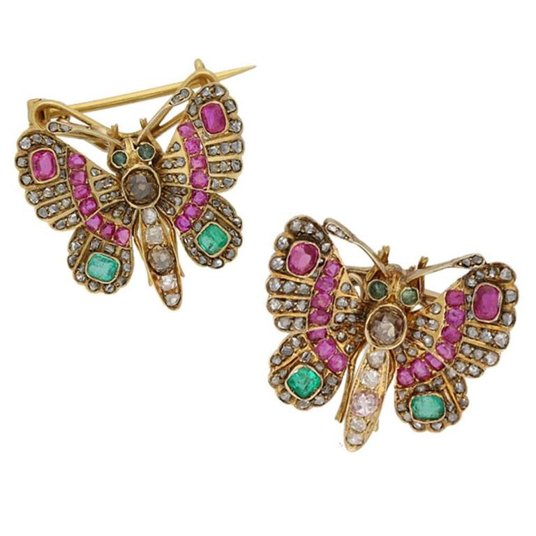 1890s Pair of Victorian Gem Set Butterfly Brooches