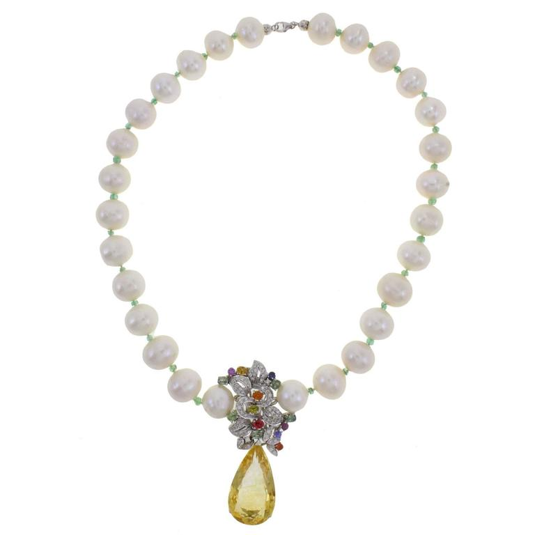 Teardrop Topaz Pearl Gold Necklace