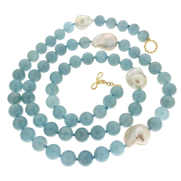 Valentin Magro Aquamarine Bead Necklace with Fresh Water Pearls