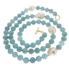 Aquamarine Bead Necklace with Fresh Water Pearls