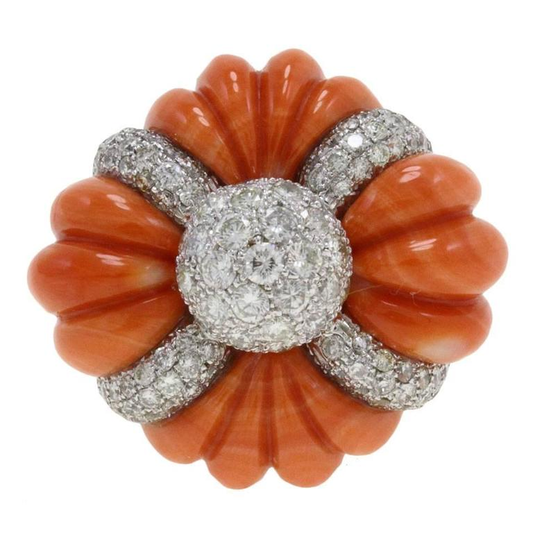 Luise Cinderella Pumpkin Coral Diamond Gold Ring For Sale at 1stdibs