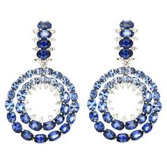 Double Circle Ombré Oval Sapphire Platinum Earrings
