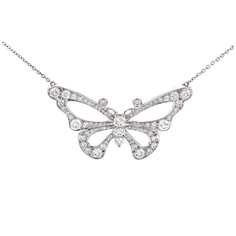 Tiffany & Co. Enchant Diamond Platinum Butterfly Pendant Necklace 1