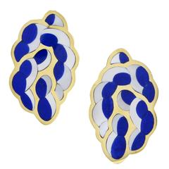 Tiffany & Co. Inlaid Mother of Pearl Lapis Gold Rope Earrings