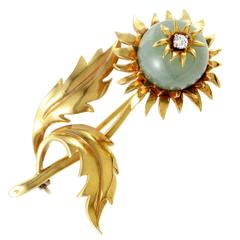 Tiffany & Co. Schlumberger Jade Diamond Gold Flower Brooch