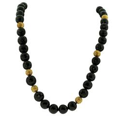 Elegant Crevoshay Necklace with Black Spinel and Gold Bali Beads