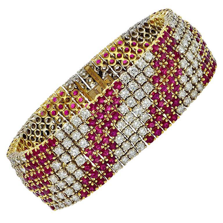 Burma Ruby and Diamond Two Tone Gold Bracelet