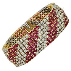Burma Ruby and Diamond Two Tone Gold Bracelet