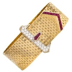 Cartier Retro Ruby Diamond Gold Bracelet
