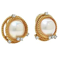 Tiffany & Co. Schlumberger Pearl Diamond Gold Earrings
