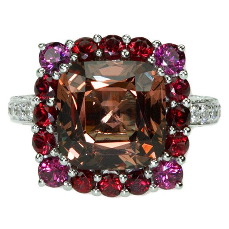 Samuel Getz Unusual Color Change Garnet and Diamond Ring in 18Kt.