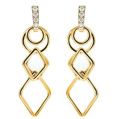 Geometric Links Dangling Gold Earrings