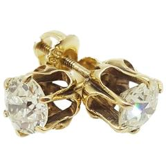 Antique Diamond Gold Stud Earrings