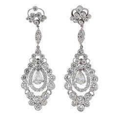 Over 8 carat Dimond Art Deco Styled  Platinum Dangle Earrings.
