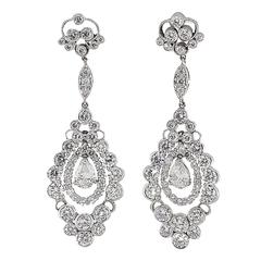 Diamond Platinum Dangle Earrings