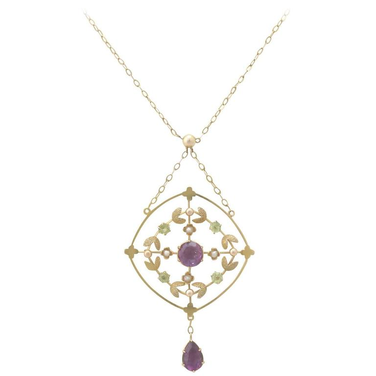 1890s Victorian Amethyst and Peridot, 12k Yellow Gold Necklace