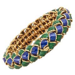 Schlumberger Tiffany Enamel  Gold Bracelet
