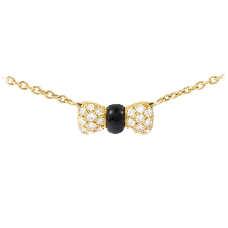 Van Cleef & Arpels Onyx Diamond Gold Bow Pendant Necklace