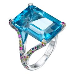 20.20 Carat Blue Topaz Diamond Gold Ring