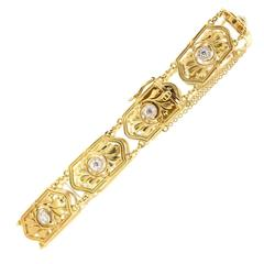 1900s Art Nouveau Diamond Gold Bracelet