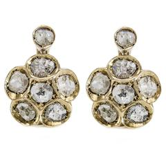 Large Floral Diamond Lever-Back Earrings