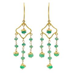 Emerald and 18 Karat Gold Chandelier Earrings