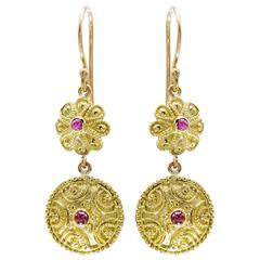 Ruby and 14k Gold Drop Earrings