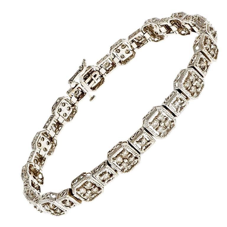 Diamond Textured Hinged Link Gold Bracelet