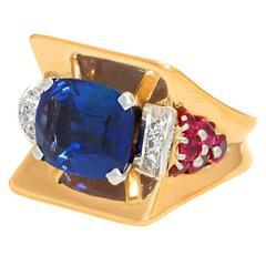 1930s Magnificent Art Deco Ring with 7.50 Carat No Heat GIA Ceylon Sapphire